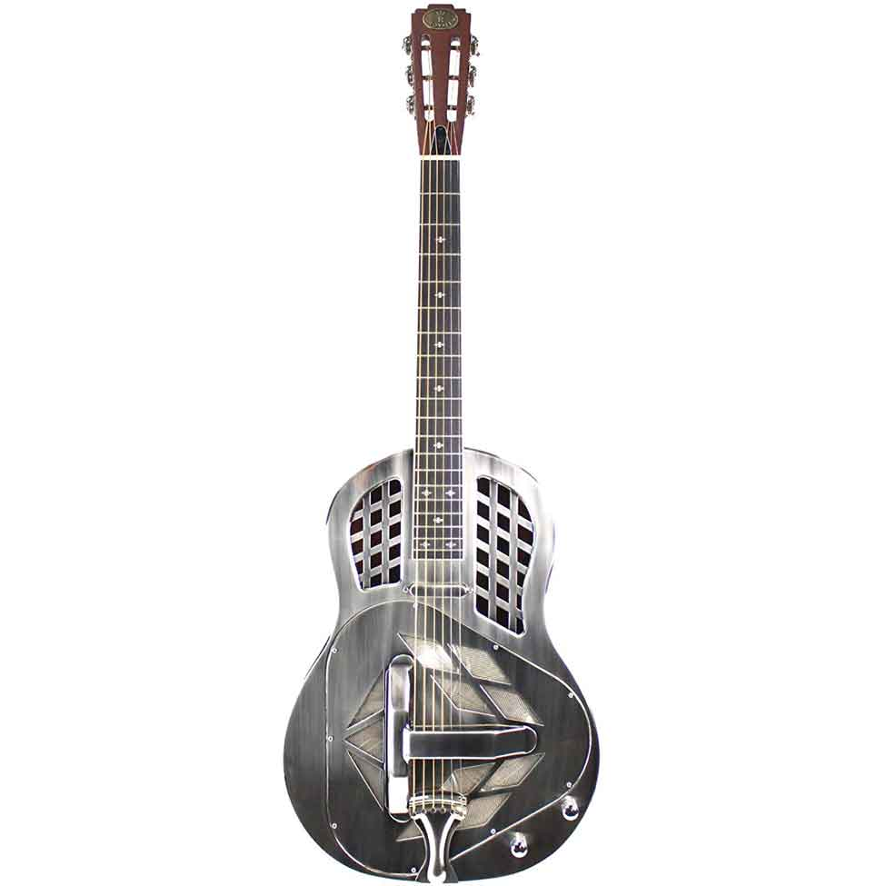 royall trifecta brushed nickel finish brass tricone resonator with pickup imperial guitars. Black Bedroom Furniture Sets. Home Design Ideas